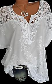 여성용 솔리드 V 넥 레이스 - 셔츠, 베이직 블랙 XXXL / 여름