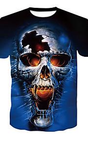 Hombre Básico / Chic de Calle Discoteca Estampado Camiseta, Escote Redondo Bloques / Cráneos Azul Marino XXL / Manga Corta / Verano