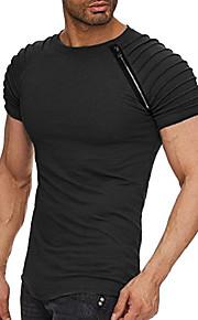 남성용 솔리드 라운드 넥 티셔츠, 베이직 블랙 XL / 짧은 소매