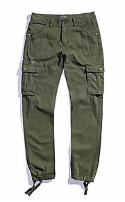 Муж. Тонкие Брюки-карго Брюки - Однотонный Зеленый