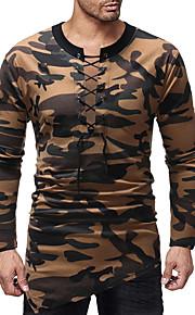Majica s rukavima Muškarci - Osnovni Dnevno Pamuk kamuflaža Okrugli izrez Slim, Vezanje straga / Print Red L / Dugih rukava / Jesen