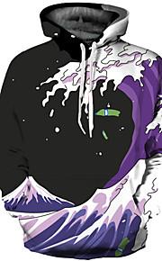 男性用 パンク&ゴシック / 誇張された プラスサイズ パンツ - 3D プリント パープル / ラウンドネック / 長袖 / 秋