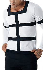 Hombre Básico / Punk & Gótico Camiseta, Escote Redondo Delgado Bloques Blanco L / Manga Larga