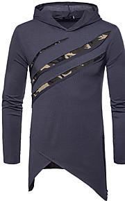 Hombre Básico Camiseta, Escote Redondo Delgado Bloques Negro L / Manga Larga / Invierno