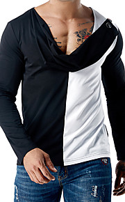 Hombre Básico Camiseta, Escote en Pico Delgado Bloques Blanco L / Manga Larga