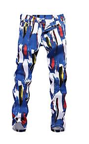 Erkek Sokak Şıklığı Pamuklu İnce Chinos Pantolon - Geometrik Desen Gökküşağı / Bahar / Sonbahar / Kulüp