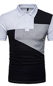 男性用 スポーツ プラスサイズ Polo シャツカラー カラーブロック コットン / 半袖