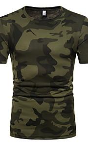Herrn Einfarbig / camuflaje - Grundlegend Baumwolle T-shirt, Rundhalsausschnitt Schlank Braun L / Kurzarm