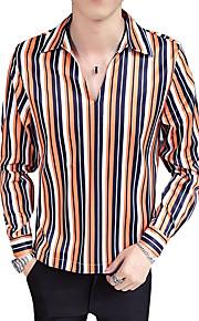 Hombre Algodón Camisa A Rayas / Bloques Naranja XL / Escote Chino / Manga Larga / Otoño