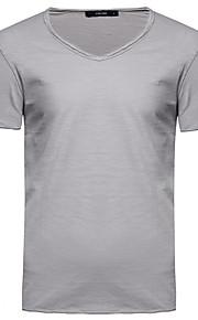 Hombre Básico Algodón Camiseta, Escote en Pico Un Color Azul claro L / Manga Corta / Verano