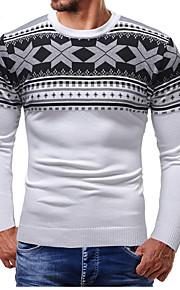 男性用 日常 ストリートファッション カラーブロック 長袖 スリム レギュラー プルオーバー, ラウンドネック ホワイト / ブラック L / XL / XXL