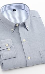 男性用 ワーク プラスサイズ シャツ ビジネス / ベーシック スリム ソリッド コットン / 長袖
