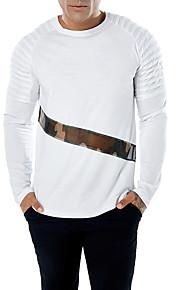 Herrn camuflaje - Grundlegend Baumwolle T-shirt, Rundhalsausschnitt Schlank Patchwork Blau L / Langarm / Herbst