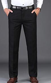 男性用 ビジネス / ベーシック スーツ パンツ - ソリッド ブラック / ワーク
