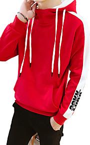 男性用 活発的 / ストリートファッション パンツ - ソリッド ブラック / フード付き / スポーツ / 長袖 / 秋 / 冬