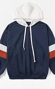 男性用 ロング 長袖 パーカー - カラーブロック フード付き