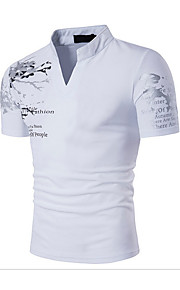 Erkek Pamuklu Dik Yaka İnce - Tişört Desen, Geometrik Actif / Boho Spor Siyah L / Kısa Kollu / Yaz