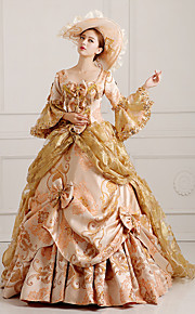 Rococo Viktoria Tarzı Kostým Dámské Šaty Kostým na Večírek Maškarní Červená    Zlatá Retro Cosplay Krajka 3c3c80ca62