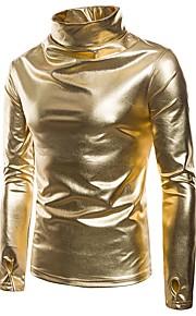 Hombre Básico Pantalones - Un Color Dorado / Cuello Alto / Manga Larga / Invierno
