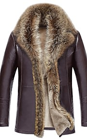 Ανδρικά Καθημερινά Πολυτέλεια Χειμώνας Κανονικό Γούνινο παλτό, Μονόχρωμο Κλασικό Πέτο Μακρυμάνικο Δέρμα Γίδας Καφέ / Μαύρο XXXL / XXXXL / XXXXXL / Λεπτό