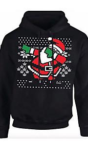Ανδρικά Κομψό στυλ street Παντελόνι - Κινούμενα σχέδια Μαύρο / Χριστούγεννα / Με Κουκούλα / Μακρυμάνικο
