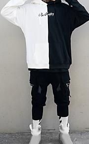 男性用 プラスサイズ ストリートファッション ルーズ 長袖 パーカー - カラーブロック フード付き