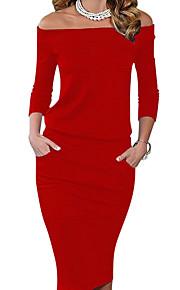 326763fc7134 69 Γυναικεία Πάρτι Εξόδου Εφαρμοστό Φόρεμα - Μονόχρωμο Ως το Γόνατο Ώμοι  Έξω Κόκκινο   Λεπτό