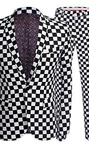 男性用 パーティー ビジネス プラスサイズ レギュラー スーツ, チェック ピーターパンカラー 長袖 ポリエステル ブラック XXXL / 4XL / XXXXXL / ビジネスカジュアル