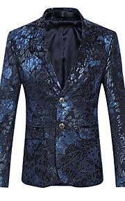 Bărbați Zilnic / Club Sofisticat Primăvară / Toamnă Mărime Plus Size Regular Blazer Rever Clasic Manșon Lung Bumbac Imprimeu Mov / Albastru 4XL / XXXXXL / XXXXXXL / Zvelt
