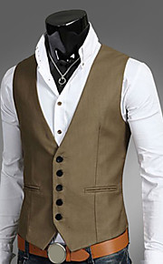 Men's Work Plus Size Vest, Solid Colored Fantastic Beasts Sleeveless Polyester Black / Brown / Navy Blue XL / XXL / XXXL / Business Formal / Slim
