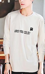 Hombre Chic de Calle Camiseta, Escote Redondo Letra Beige XL / Manga Larga