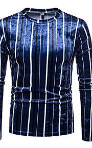 Муж. С принтом Футболка Круглый вырез Геометрический принт / Контрастных цветов Синий L / Длинный рукав