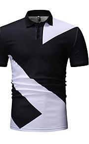 Муж. Футболка Рубашечный воротник Уличный стиль Контрастных цветов Белый XL / С короткими рукавами
