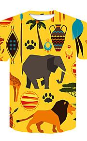 Ανδρικά T-shirt Κλαμπ Κομψό στυλ street Ζώο / Κινούμενα σχέδια Στρογγυλή Λαιμόκοψη Στάμπα Λιοντάρι Κίτρινο XXL / Κοντομάνικο