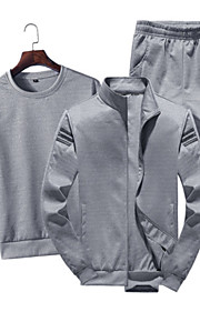 Муж. Спортивные / Классический Тонкие Длинный рукав Activewear Set - Однотонный Круглый вырез