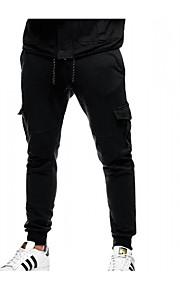 Муж. Классический Штаны / Брюки-карго Брюки - Однотонный Черный