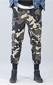 男性用 ストリートファッション プラスサイズ チノパン パンツ - カモフラージュ ブラック