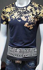 Hombre Vintage / Básico Tallas Grandes Algodón Camiseta, Escote Redondo Estampado Blanco XXL / Manga Corta