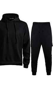 Муж. Тонкие Длинный рукав Activewear Set - Однотонный Капюшон