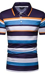 男性用 EU / USサイズ Polo シャツカラー スリム ストライプ / 半袖