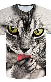 男性用 プリント Tシャツ ベーシック / ストリートファッション カラーブロック / 動物 猫