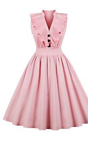 Жен. Праздники На выход Винтаж С летящей юбкой Платье Оборки V-образный вырез Средней длины