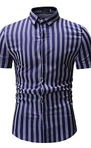 Hombre Básico Algodón Camisa Bloques Blanco XL / Manga Corta