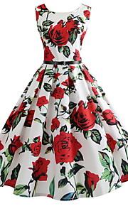Жен. Элегантный стиль А-силуэт Платье - Цветочный принт, С принтом До колена