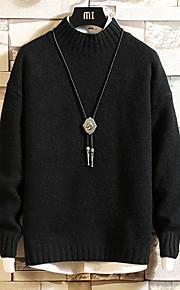 Муж. Однотонный Пуловер Осень Оранжевый / Темно-серый / Светло-серый XXL / XXXL / XXXXL