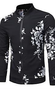 男性用 日常 レギュラー ジャケット, 幾何学模様 ラウンドネック 長袖 ポリエステル ブラック XL / XXL / XXXL