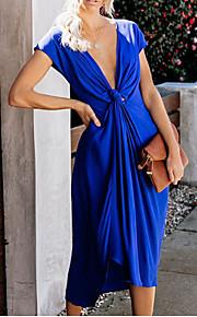 Жен. Элегантный стиль Прямое Футболка Платье - Однотонный, Скрученный Глубокий V-образный вырез Средней длины / Хлопок