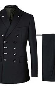 男性用 スーツ, ソリッド ノッチドラペル コットン / アクリル / ポリエステル ブラック / ネイビーブルー XXL / XXXL / XXXXL