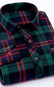 メンズプラスサイズのコットンシャツ - 幾何学的なシャツの襟