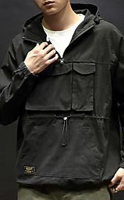 男性用 日常 秋 レギュラー ジャケット, ソリッド フード付き 長袖 コットン グリーン / ブラック / ベージュ XXXL / XXXXL / XXXXXL